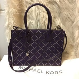 Michael kors Mercer purple leather satchel tote